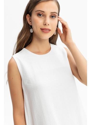 Tiffany&Tomato Etek Ucu Fırfırlı Keten Uzun Elbise-Sarı Ekru